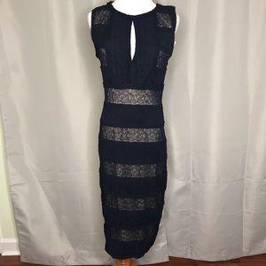 Navy lace insert dress